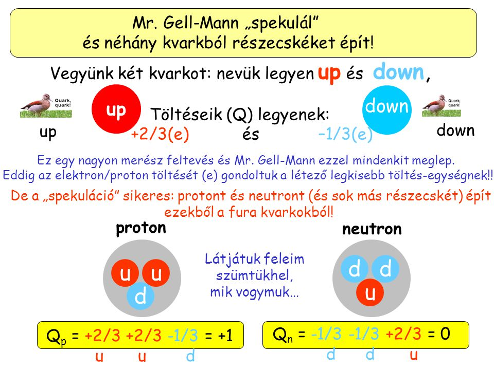 "d u u d up down Mr. Gell-Mann ""spekulál"