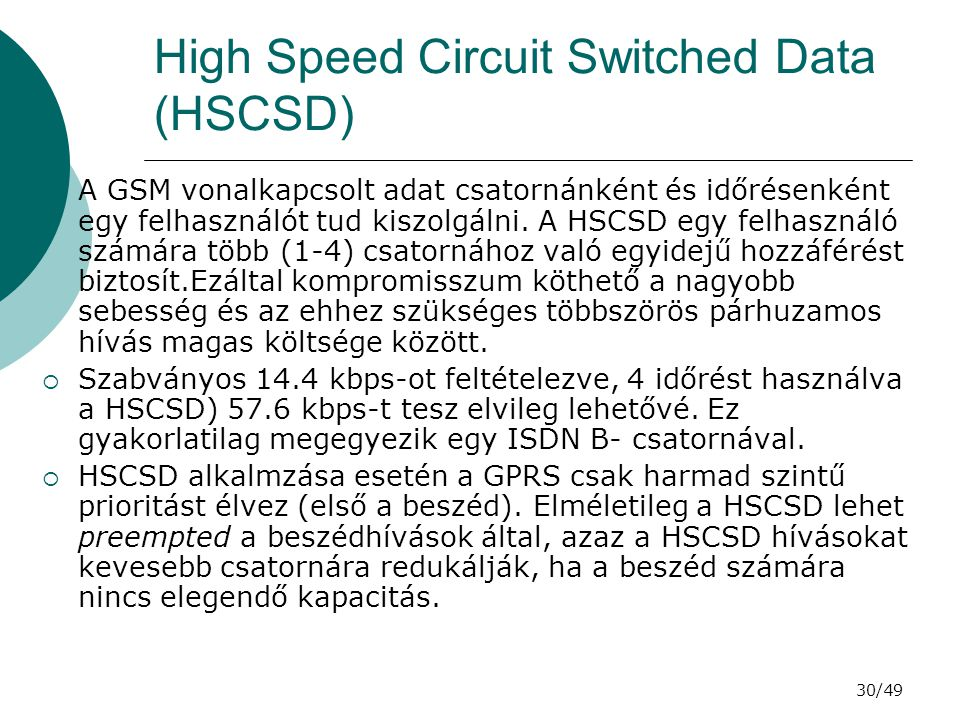 High Speed Circuit Switched Data (HSCSD)