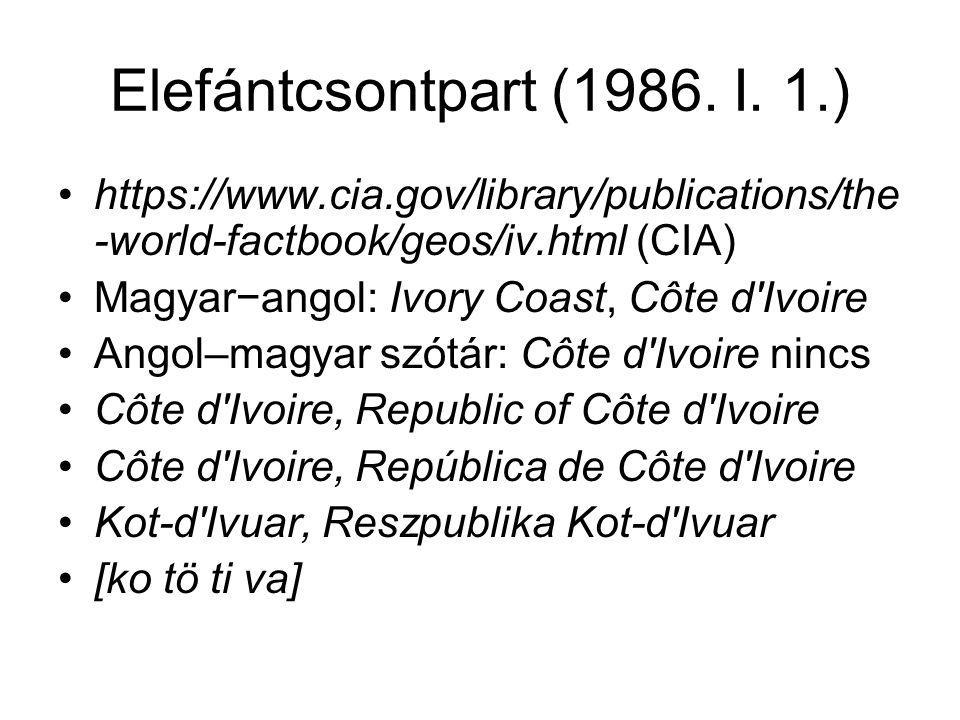 Elefántcsontpart (1986. I. 1.) https://www.cia.gov/library/publications/the-world-factbook/geos/iv.html (CIA)