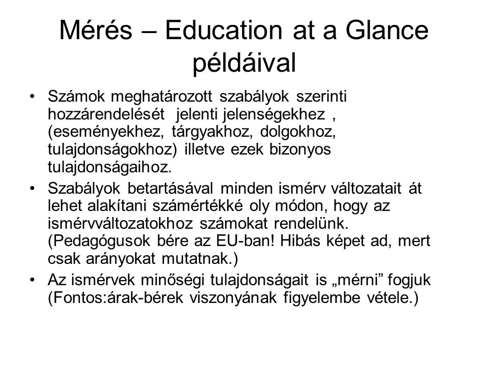 Mérés – Education at a Glance példáival
