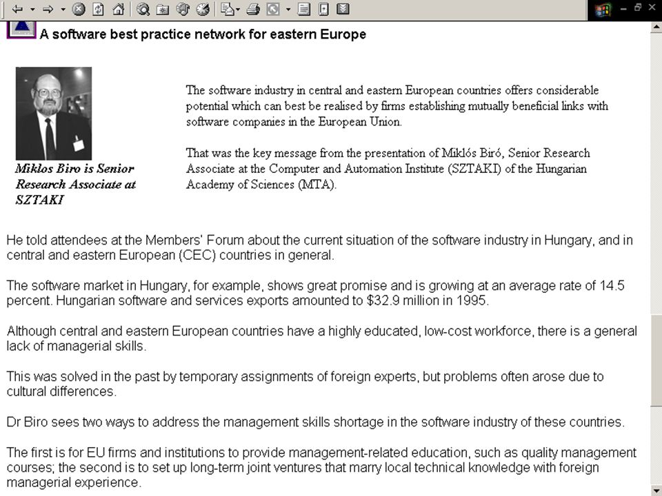 European Software Institute (ESI) 1997 Members Forum