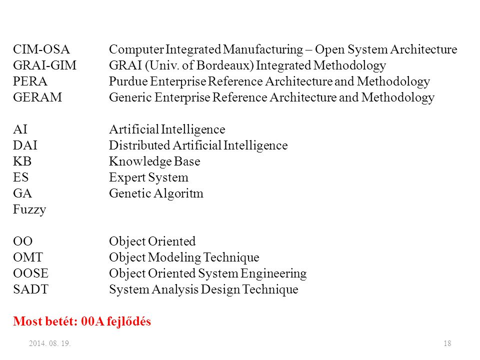CIM-OSA Computer Integrated Manufacturing – Open System Architecture