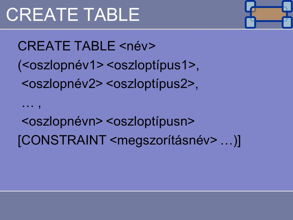 CREATE TABLE CREATE TABLE <név>