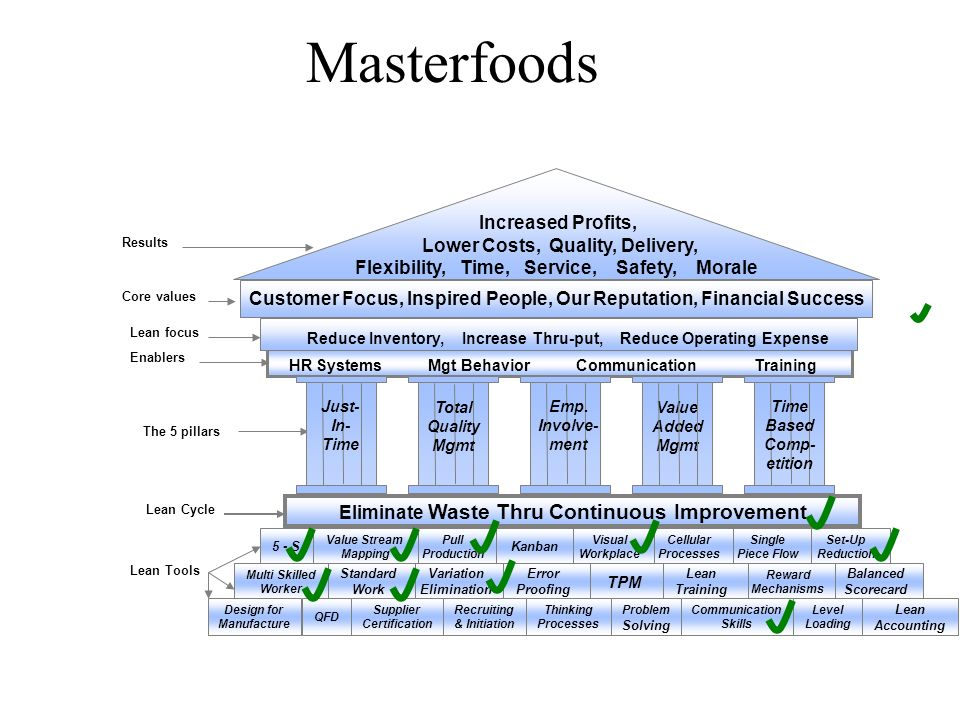 Masterfoods Increased Profits, Lower Costs, Quality, Delivery,